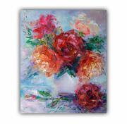 tableau fleurs flower rose peonies artwork rose art fleurs rose : Bright Bouquet Flowers Floral Original Art Flowers Impasto Paint