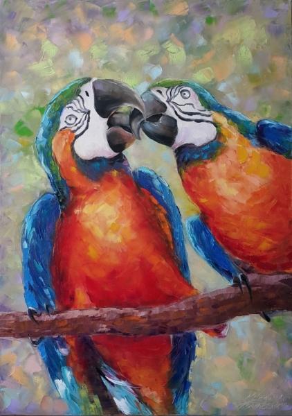 TABLEAU PEINTURE des perroquets Animaux Peinture a l'huile  - painting *Passionate kiss*