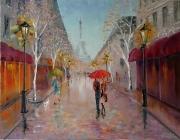tableau architecture abstraction : painting *Paris, Paris!*oil on canvas 90x70cm  Vendu