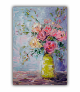 tableau fleurs fleurs peinture fleurs art fleurs abstract fleurs painting : painting *Bouquet of Flowers in a Vase*