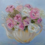 tableau fleurs abstraction roses fleurs : painting*Rose * Huile sur toile 30x30 cm  Vendu