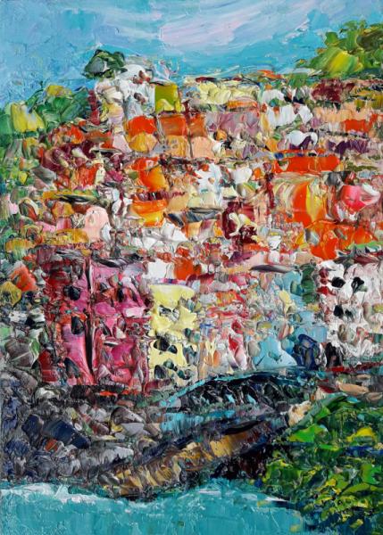 TABLEAU PEINTURE Italy Abstrait Amalfi Coast Art love Paysages Peinture a l'huile  - Italy. Amalfi Coast.