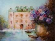 tableau architecture fleurs abstraction architecture ville : painting *Voyager dans un conte de fées*Oil on canvas 80x60 cm