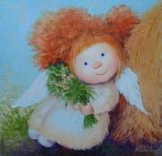 tableau fleurs fleurs bouquet angel fille : painting *Let's dream*oil on canvas 60x60 cm