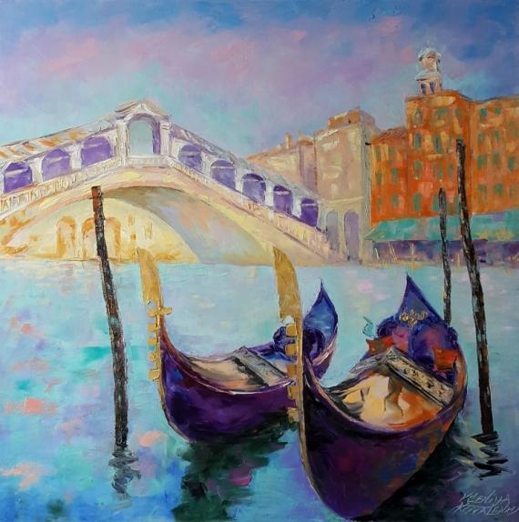TABLEAU PEINTURE Venezia Architecture Peinture a l'huile  - painting *Venezia.Ponte di Rialto*