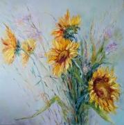 tableau fleurs sunflowers les tournesols : painting *Sunflowers*Huile sur toile  Vendu