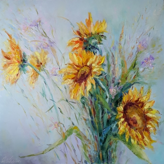 TABLEAU PEINTURE Sunflowers les tournesols Fleurs Peinture a l'huile  - painting *Sunflowers*Huile sur toile  Vendu
