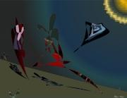 art numerique scene de genre soleil noir espace creatures : espace