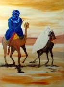 tableau personnages touaregs orientalisme sahara : sérénité
