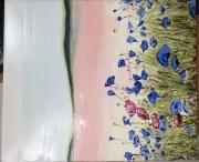 tableau fleurs rose violet paysage campagne : Fraîcheur