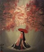 tableau personnages automne japon arbre lumiere : Tokyo Ombrelle