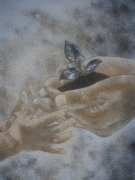 tableau scene de genre mains : transmission