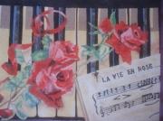 tableau fleurs rose : la vie en rose
