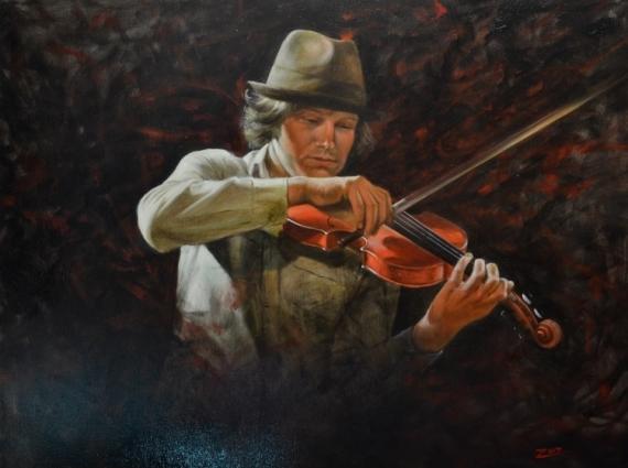TABLEAU PEINTURE violoniste musicien portrait personnage Personnages Peinture a l'huile  - le violoniste