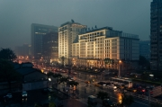 tableau architecture china street city ville : Beijing China Street at Dusk.