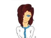 dessin personnages portrait fille promarker ecole : Écolière