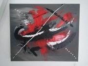 tableau abstrait : en rouge et noir