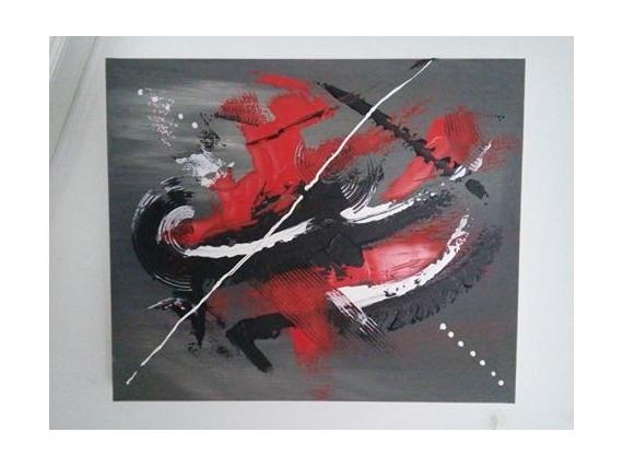 TABLEAU PEINTURE Abstrait Acrylique  - en rouge et noir