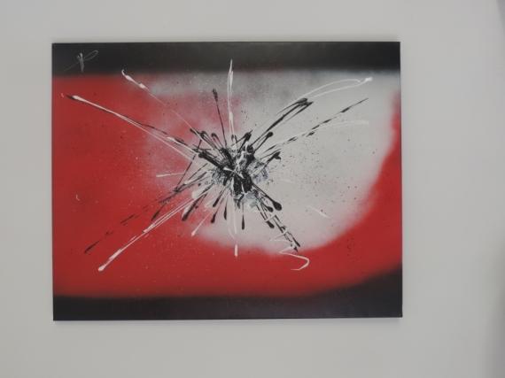 TABLEAU PEINTURE Abstrait Acrylique  - explosion cosmique