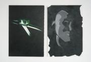 tableau personnages sims portrait prisme dyptique : Sim Ili Art (Green & Grey)