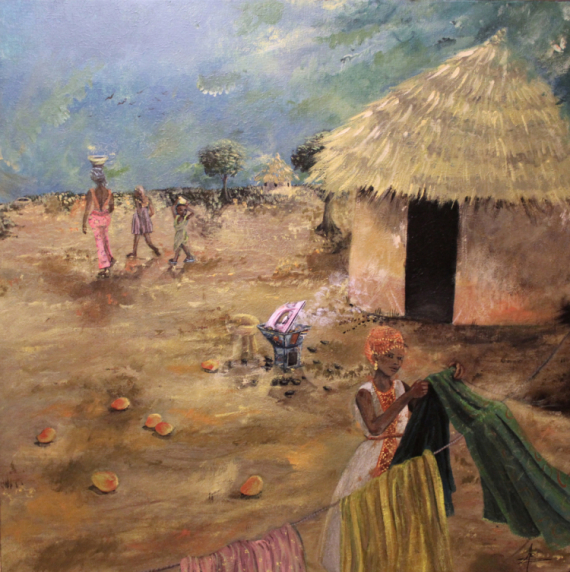 TABLEAU PEINTURE Afrique Quotidien Case Ethiopie Acrylique  - Petit Théâtre de la Modernité Africaine (V4)