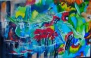 tableau abstrait tableau abstrait floral : tropique