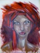 tableau personnages tableau portrait femme : femme au turban