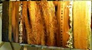 tableau abstrait abstrait or marron feuille d or : Terre d'or