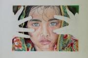 tableau personnages asie beaute regard enfant : Purple asiat