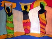 dessin scene de genre afrique femme : couleurs d'afrique