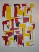 tableau abstrait abstrait rouge jaune : espagne