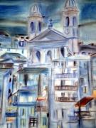 dessin paysages eglise port : vieux port bastia; église saint jean baptiste