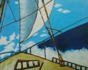 tableau marine un voilier tableau voilier tableau peinture ,a l hu : Un voilier