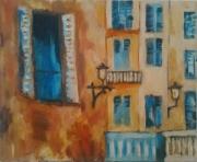 tableau architecture peinture ,a l hu des maisons penture l huile : Maisons niçoises