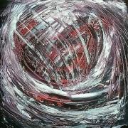tableau abstrait argent spirale nuit ciel : spirale d'argent