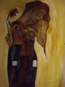tableau personnages pyrenees orientales languedoc roussillon : la femme et l'enfant