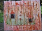 tableau abstrait abstrait matiere collage originale : FICELLES SUR MATIERES