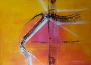 tableau abstrait toile acrylique jacques grange : Traces