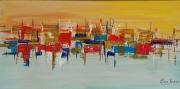tableau abstrait paysage ville abstrait reflets : Ces étranges paysages I