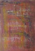 tableau abstrait abstrait orange paysage original : Depuis le pont