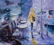 tableau scene de genre bistrot pluie crachin bretagne : Le bistrot