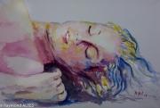 tableau personnages femme reveil aquarelle endormie : Femme endormie