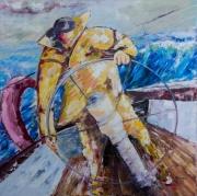 tableau marine voile marin barre navigation : Manoeuvre à la barre