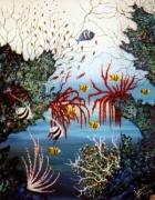 tableau marine tableau art salmet marin : coreaux rouge