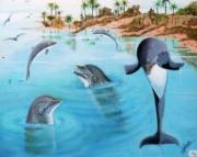 tableau marine tableau art salmet marin : la fete des dauphins