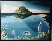 tableau marine art peinture toile marin : les gardiens du Mont st Michel