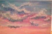 tableau paysages ciel nuage bleu rose : Cieux