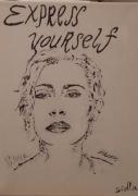 tableau personnages portrait madonna femme blanc : Express Yourself