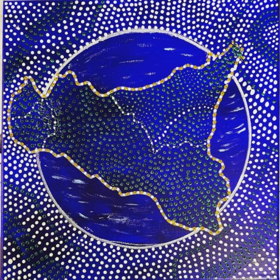 TABLEAU PEINTURE SICILE ITALIE ILE BLEU Paysages Acrylique  - Pezzettino di Sicilia