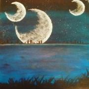 tableau lune nuit bleu fiction : L'autre monde